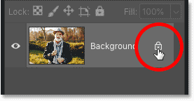 Unlocking the Background layer in  Photoshop's Layers panel