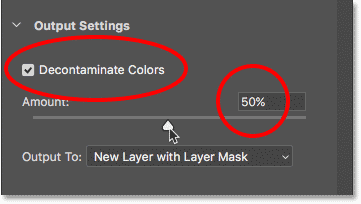 The Decontaminate Colors option in Select and Mask in Photoshop