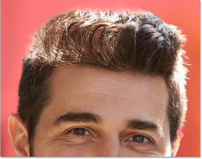 A closeup of the hair selection using Select Subject in Photoshop CC 2020