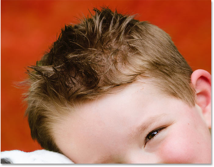 Select Subject in Photoshop CC 2020 did a great job at selecting the boy's hair in the photo
