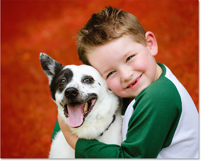 Select Subject was able to select both the boy and his dog in the photo