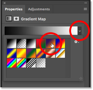 Choosing a gradient for the Gradient Map adjustment layer in the Properties panel