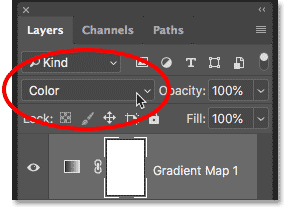Changing the blend mode of the Gradient Map adjustment layer to Color
