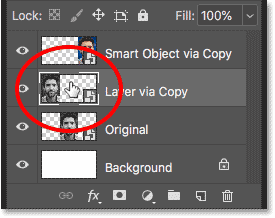 Opening the smart object copy created with the New Layer via Copy command