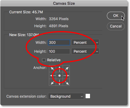 Adding more canvas space in the Canvas Size dialog box in Photoshop