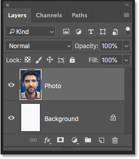 The Layers panel showing the image that will be converted to a smart object