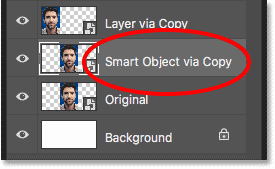 Naming the second smart object copy 'New Smart Object via Copy'