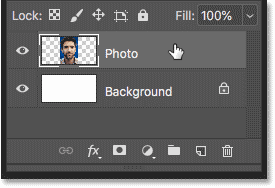Selecting the layer to convert to a smart object in Photoshop
