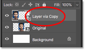Renaming the first smart object copy to 'Layer via Copy'