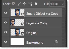 The Layers panel showing two copies of the smart object
