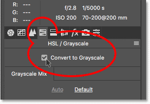 How to convert color images to grayscale in the Camera Raw Filter in Photoshop