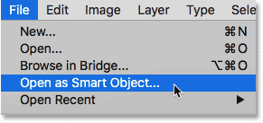 Choosing the Open as Smart Object command from the File menu in Photoshop