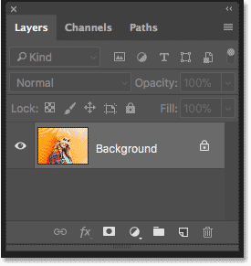 The image on the Background layer in the Layers panel in Photoshop
