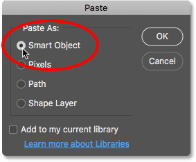 Choosing the Paste command in Photoshop