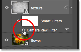 Turning off the Camera Raw smart filter in the Layers panel in Photoshop