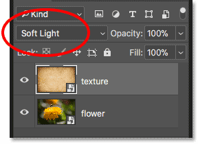 Changing the blend mode of a smart object in Photoshop