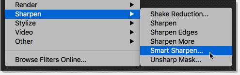 Choosing the Smart Sharpen command in Photoshop