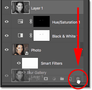 Deleting the merged layer in the Layers panel in Photoshop