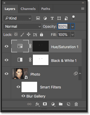 The Layers panel showing the layers used to create the effect in Photoshop