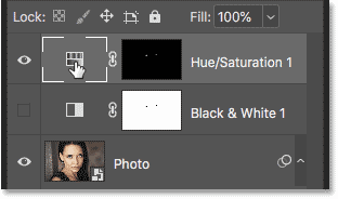 Selecting the Hue/Saturation adjustment layer in the smart object