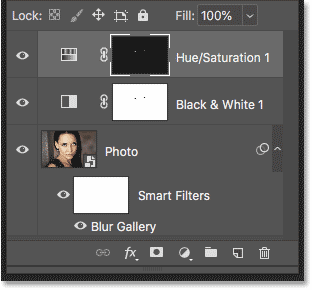 The Layers panel in Photoshop showing the layers inside the smart object