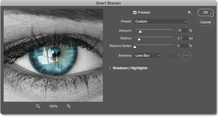 Applying sharpening to the merged layer in Photoshop