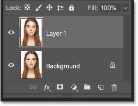 The Layers panel in Photoshop showing the first copy of the image above the original
