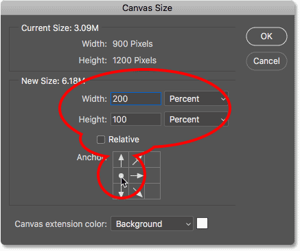 The Canvas Size dialog box in Photoshop CC.