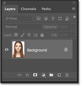 The Layers panel in Photoshop showing the image on the Background layer