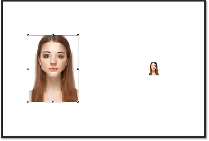 Photoshop enlarged the pixel version by making the pixels bigger