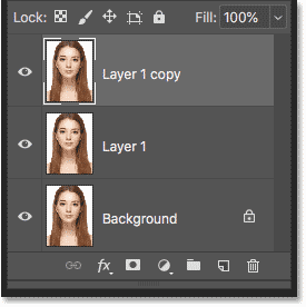 The Layers panel in Photoshop showing the second copy of the image