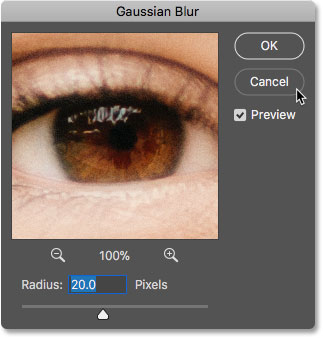 The Gaussian Blur dialog box reopens