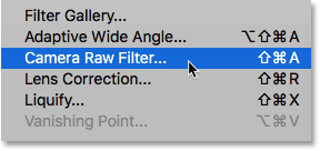 Adding the Camera Raw Filter as a smart filter in Photoshop