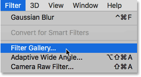 How to open the Filter Gallery in Photoshop