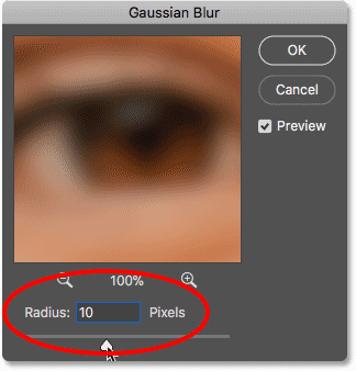 Blurring the image with the Gaussian Blur filter in Photoshop
