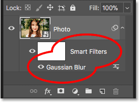 The Gaussian Blur smart filter listed below the smart object in the Layers panel