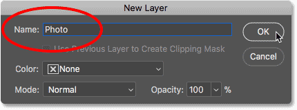 Entering a new name in the New Layer dialog box in Photoshop