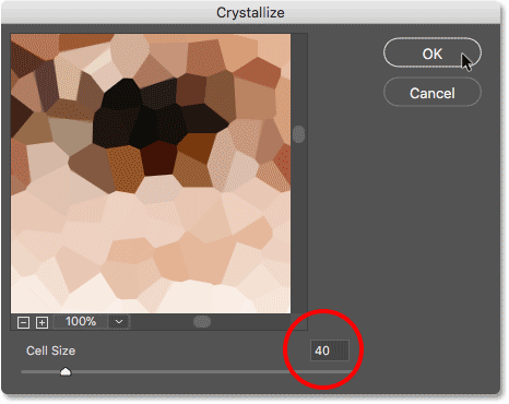 The Crystallize filter dialog box in Photoshop