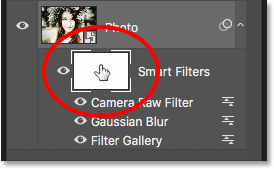 Selecting the smart filters layer mask
