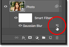 How to open a smart filter's blending options in Photoshop