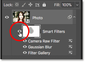 How to toggle smart filters on and off in Photoshop