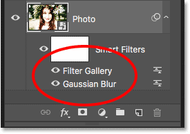 The Layers panel showing both smart filters