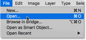 Selecting the Open command in Photoshop