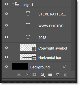 The Layers panel in Photoshop showing the layers used to create the logo