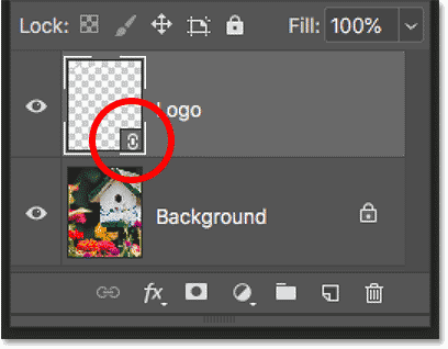 The linked smart object icon in the Layers panel in Photoshop