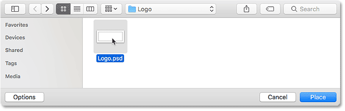 Selecting the logo file that will be placed as a watermark