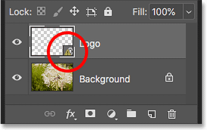The warning icon in the smart object indicates that the contents have changed