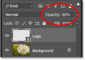 Lowering the logo opacity to 60 percent in the Layers panel in Photoshop