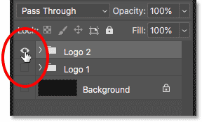 Turning off the first logo and turning on the second logo in the Layers panel
