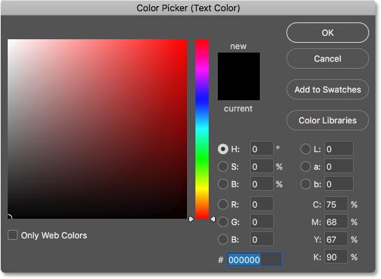 The Color Picker opens so we can choose a new type color